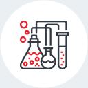 Une icône qui représente des instruments de chimie.
