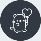 Une icône avec un chat et un ballon.